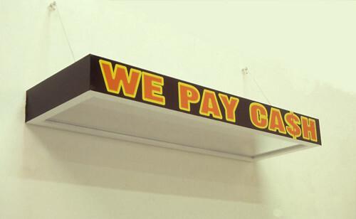 Callum Morton We Pay Cash, 1998; wood, laminate, enamel, acrylic, aluminium, vinyl; 150 x 50 x 15 cm; enquire