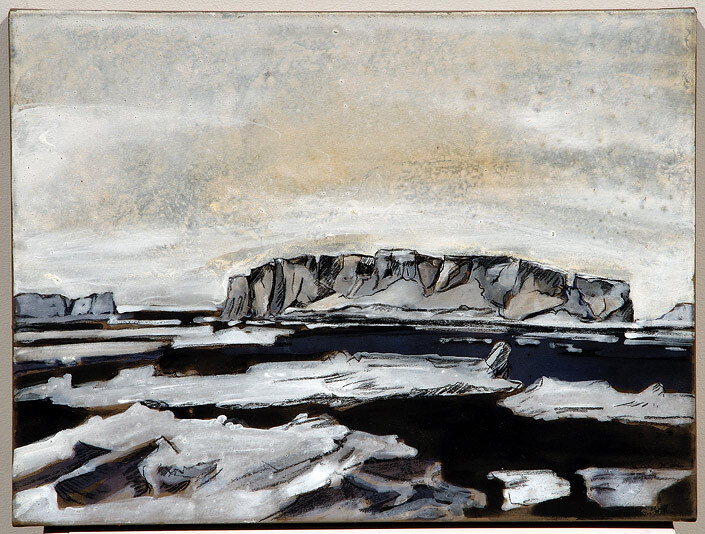 Mandy Martin Epic Fatality; Iceberg/Castle, 2007; Ochre, pigment and acrylic on arches paper; enquire