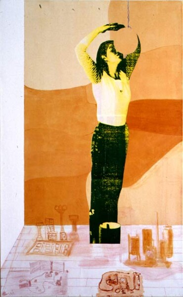 Geoff Lowe & Kathy Temin A Constructed World II, 1991; acrylic, conte & colour, laser copy on linen; 185 x 117 cm; enquire