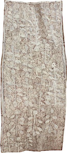 Nyapanyapa Yunupingu Marwat, 2011; 4077E; natural earth pigments on bark; 174 x 75 cm; enquire