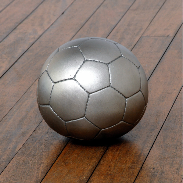James Angus Soccerball dropped from 35,000 feet, 2006; from the series Exhibited at Art 38 Basel, Switzerland, 2007; stainless steel; 20 x 20 x 19.5 cm; Edition of 5 + AP 2; enquire