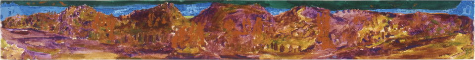 Geoff Lowe Tower Hill with Ten Groups of Figures, 1990; synthetic polymer paint on linen; 31 x 244 cm; enquire