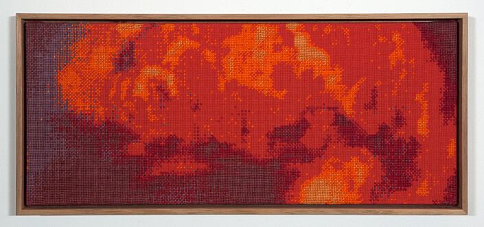 Claire Healy and Sean Cordeiro Tapestry of Disaster, Deepwater, 2012; cotton cross stitch ; 18.3 x 41.1cm (framed); enquire