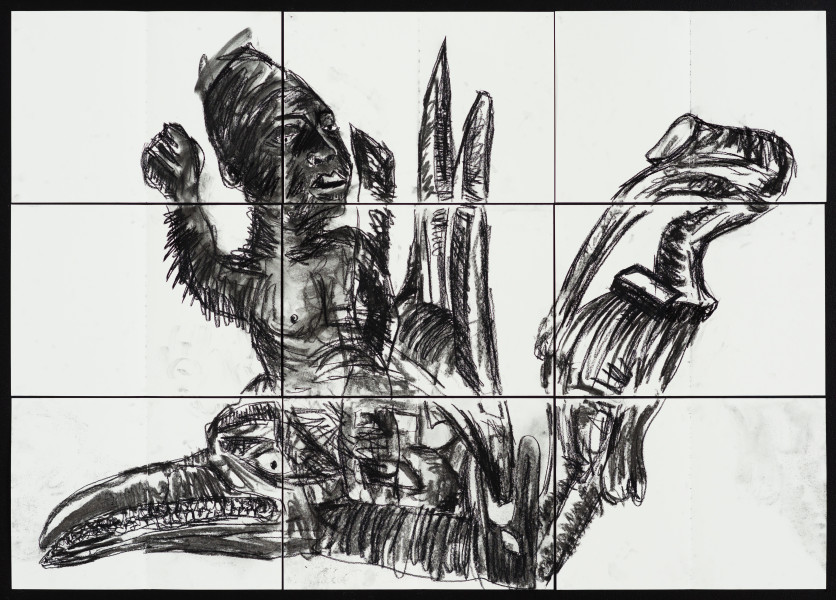 Pierre Mukeba (Slide), 2021; charcoal and pastel on archival paper; 90 x 126 cm; enquire