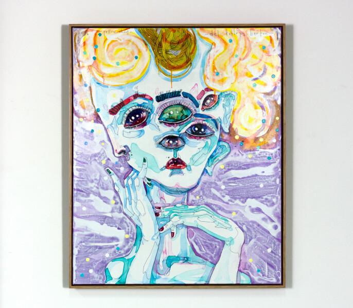 Del Kathryn Barton yellow shoot, 2016; acrylic on french linen; 86 x 65 cm; (framed); enquire