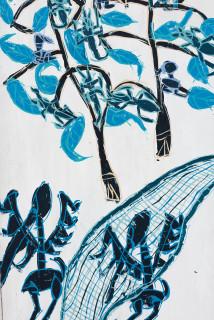 Dhambit Munuŋgurr Dulk (detail), 2020; 4133-20; earth pigments and acrylic on bark; 202 x 74 cm; enquire