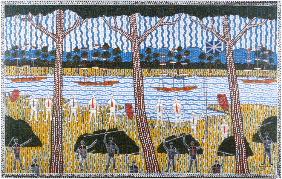 Robert Campbell Jnr Phillip's Landing, 1988; acrylic on canvas; 125 x 176.5 cm; enquire
