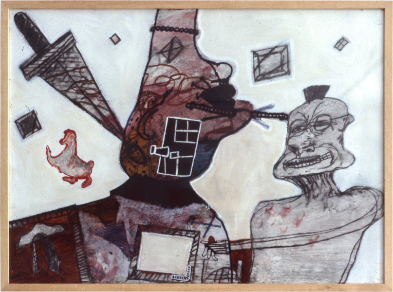 Gareth Sansom Artist as a desired mohawk, 1981; mixed media on paper; 56.5 x 77 cm; enquire