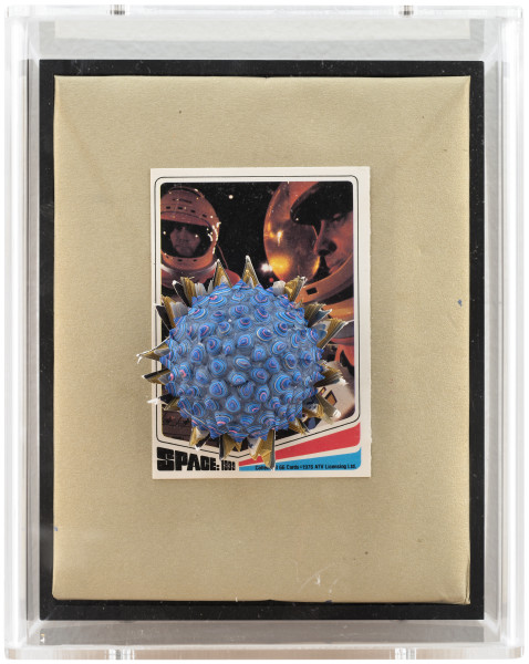 Rohan Wealleans Space: 1999 (1), 2014; paint and polystyrene on trading cards; 17 x 13.8 x 9 cm; enquire