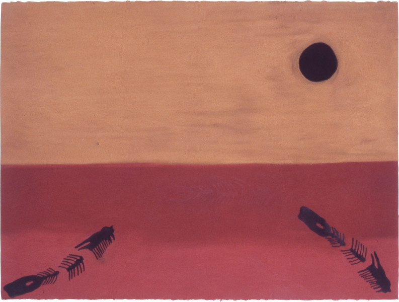 Fiona Foley Floating Fish, 1988; ink and pastel on paper; 56.5 x 76.5 cm; enquire