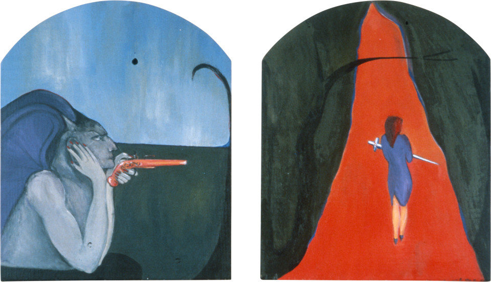Vivienne Shark LeWitt Charles Meryon The Voyeur 1827-68, La Belle et La Bete, 1983; acrylic on wood, 2 panels; 60 x 35 cm; enquire