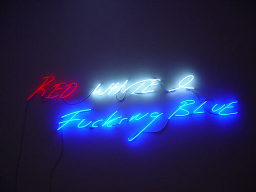Tracey Emin RED, WHITE AND FUCKING BLUE, 2004; neon; 74.5 x 237 cm; edition of 3; enquire