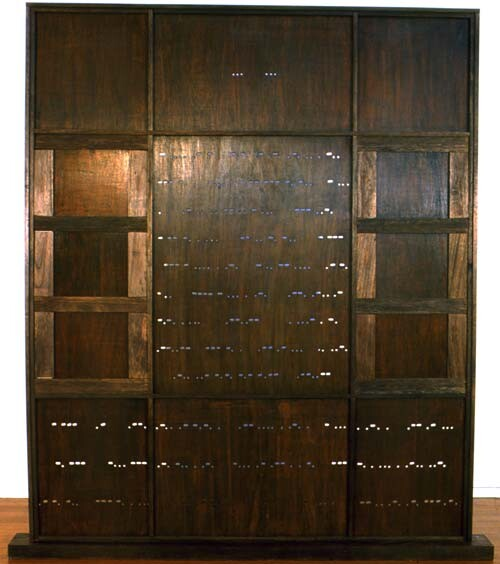 Robyn Backen SSO Purdah in the Kitchen, 1999; wooden screen installation constructed druing residency in Delhi, India; 240 x 215 cm; enquire