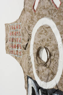 Fiona Hall EXODUST (I) (detail), 2020; oil paint on military garment; 180 x 120 cm; Enquire