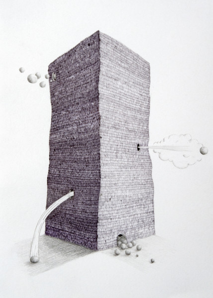 Teppei Kaneuji Tower #4, 2009; Ball-point pen & pencil on paper; 33.5 x 24 cm; enquire