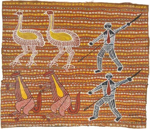 Robert Campbell Jnr Spearing the Emu and the Kangaroo, 1986; acrylic on bark and board; 72 x 86 cm; enquire