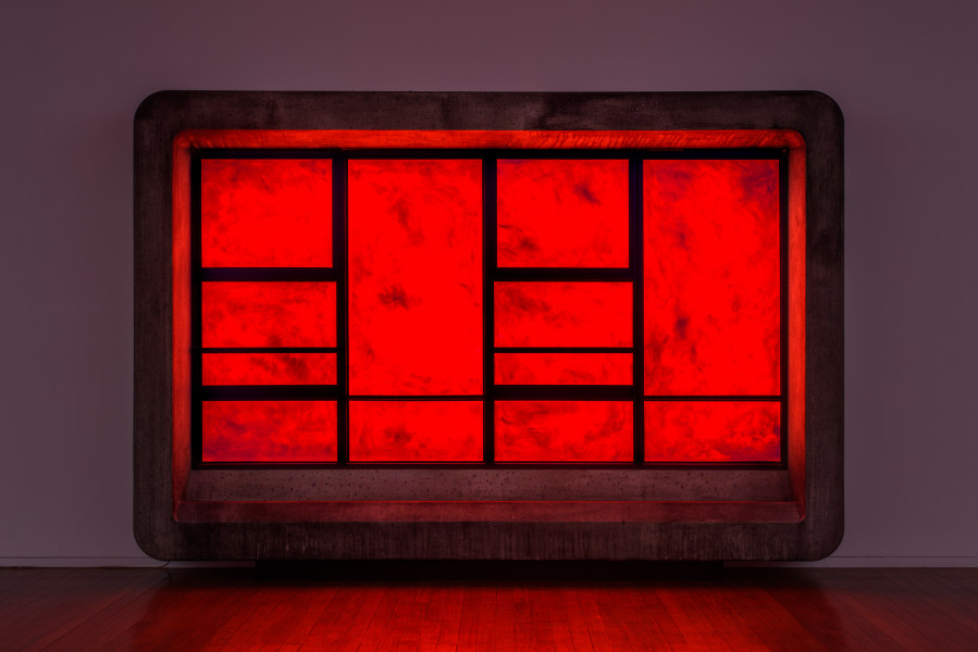 Callum Morton The End #3, 2020; polyurethane, timber, steel, glass, synthetic polymer paint, lights, sound; 240 x 360 x 50 cm; Enquire