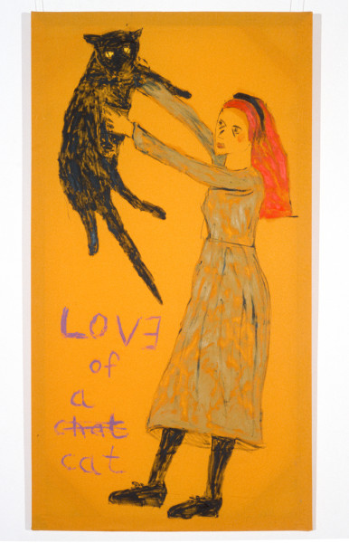 Jenny Watson Love of A Cat, 1989-90; oil on Rabbit skin Glue primed liberty cotton; 243.5 x 182.5 cm; enquire