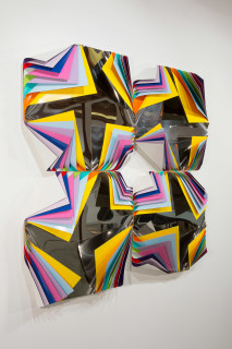 Jim Lambie Metal Box (Queen of Orchids), 2015; Aluminium and polished steel sheets, household paint; 62.5 x 62.5 x 15 cm; Overall dimensions: 125 x 125 x 15; enquire