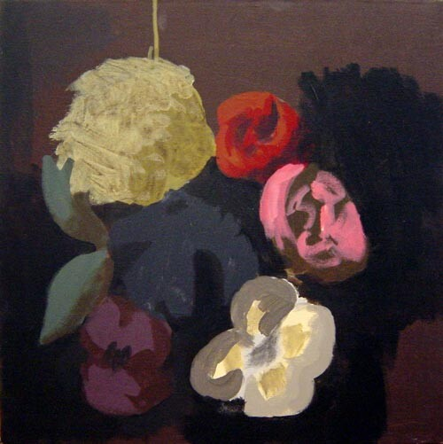 Tony Clark Floral Design with Viola, 2002; Acrylic on canvas; 51 x 51 cm; enquire
