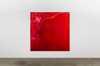 installation view; Dale Frank Non judgemental, Dte, easy going Aussie. Tell me about yourself. Mixed race ???, 2020; tinted varnish, epoxyglass, on Perspex; 200 x 200 cm; enquire