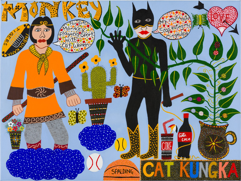 Kaylene Whiskey Monkey Magic and Cat Kungka, 2019; acrylic on linen; 91 x 122 cm; enquire