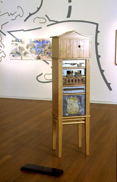 John Wolseley Reliquary Cabinet for a disappearing species Eastern Quoll, 2001; wooden cabinet (made by Linda Fredheim, Furniture Design, Hobart); enquire