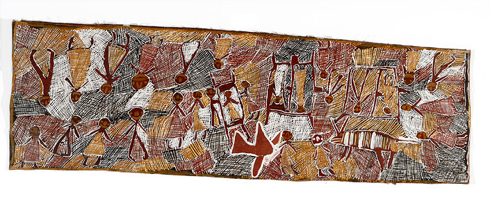 Nyapanyapa Yunupingu Airlift to Darwin Hospital, 2008; natural earth pigments on bark; 53 x 165 cm; enquire