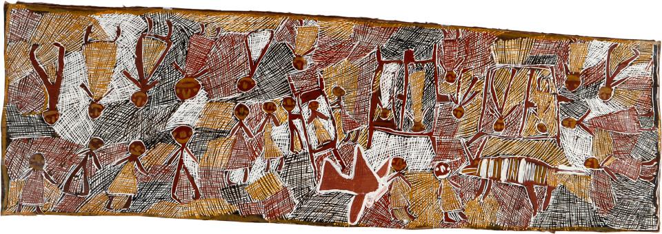 Nyapanyapa Yunupingu Airlift to Darwin Hospital, 2008; natural earth pigments on bark; 53 x 165 cm; enquire