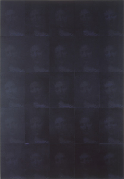 Lindy Lee This is the Black Stone at the Heart of the Universe, 1995; photocopy and acrylic on Stonehenge paper; 205 x 143 cm; 25 panels; enquire