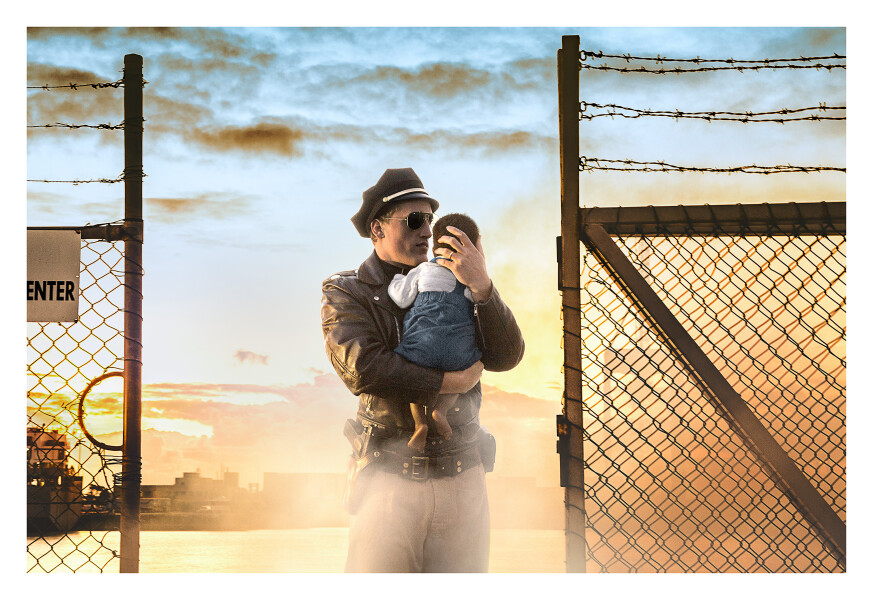 Tracey Moffatt Cop and Baby, 2017; from the series Passage; digital C-print on gloss paper; 102 x 153 cm; (image size); Edition of 6 + AP 2; enquire