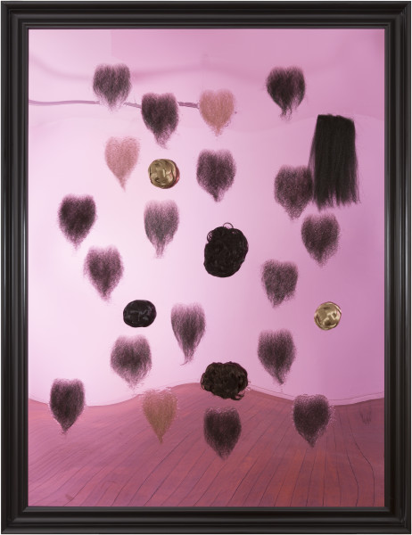 Dale Frank Liz Anne's Hong Kong magic, 2016; human chest hair wigs, Chinese buns and Epoxyglass on Perspex; 200 x 150 cm; Enquire