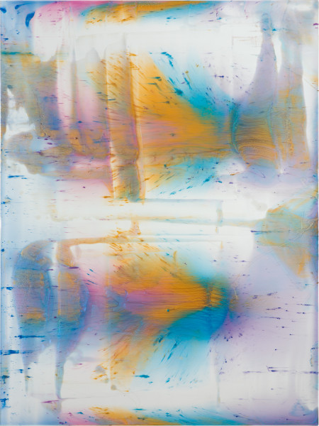 Dale Frank Lust, 2020; powder pigments in resin, epoxyglass, on Perspex; 160 x 120 cm; Enquire