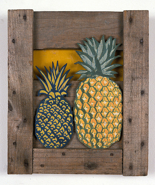 Rosalie Gascoigne Pineapple Pieces No. 4, 1985; wood and retro-reflective road sign on wood; 32 x 27 cm; enquire