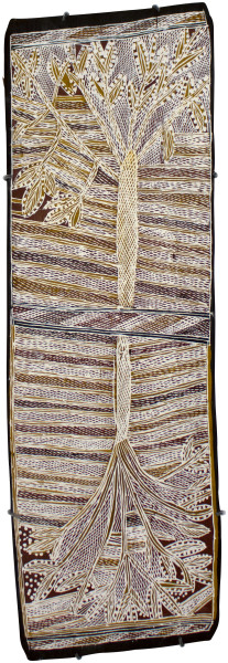 Mulkun Wirrpanda Galurra, 2015; 4743V; Bark painting; 90 x 30 cm; enquire