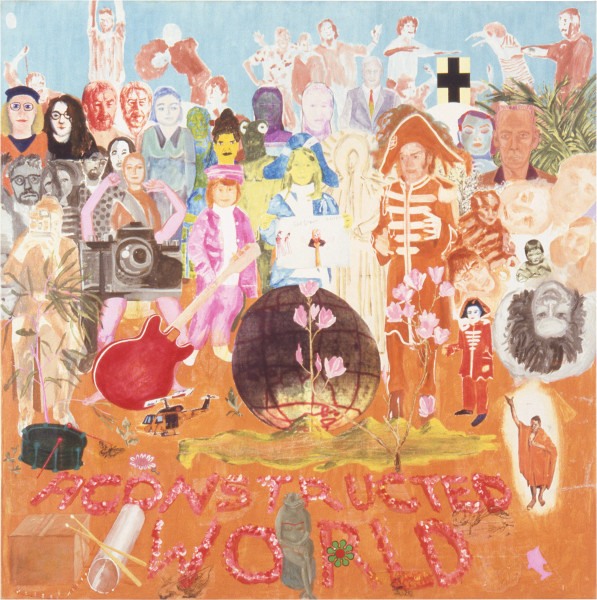 Geoff Lowe A Constructed World I (Sergeant Pepper's Lonely Hearts Club Band), 1992; oil, synthetic polymer paint, casein, cat's eye paint, watercolour, laser transfers and alkyd resin on linen; 187 x 187 cm; enquire