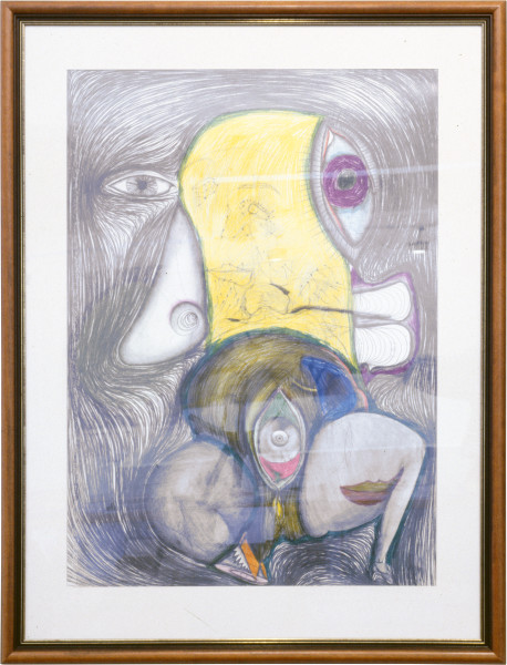 Dale Frank The Milanese Artist I, 1985; pencil & mixed media on paper; 131 x 110 cm; enquire