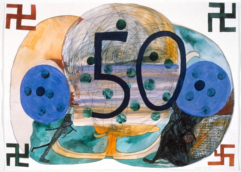 Gareth Sansom Fifty, 1989; acrylic, watercolour and pentel pen on paper; 56 x 76 cm; enquire