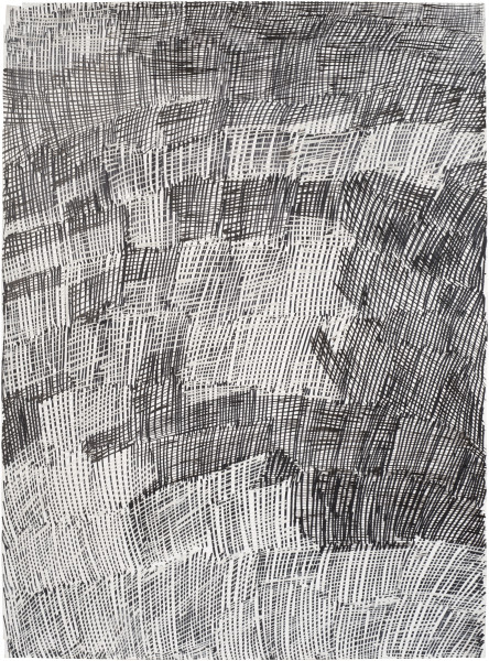 Nyapanyapa Yunupingu Djorra (paper) 8, 2014; TPA126; felt tip pen, earth pigments on discarded print proofs; 75 x 56 cm; Enquire