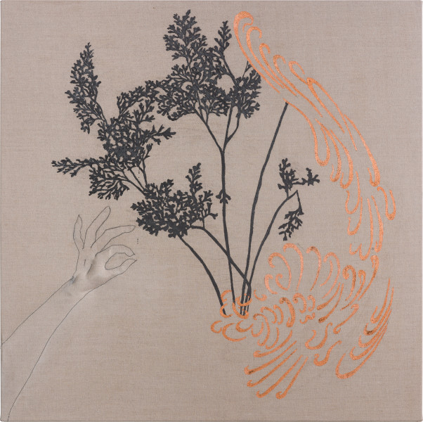 Caroline Rothwell Arrangement for The Galapagos (Gymnogramma chaerophylla, after Darwin), 2018; Belgian linen, graphite, copper, hydrostone, gesso; 107 x 107 cm; AUD 10,000.00; Enquire