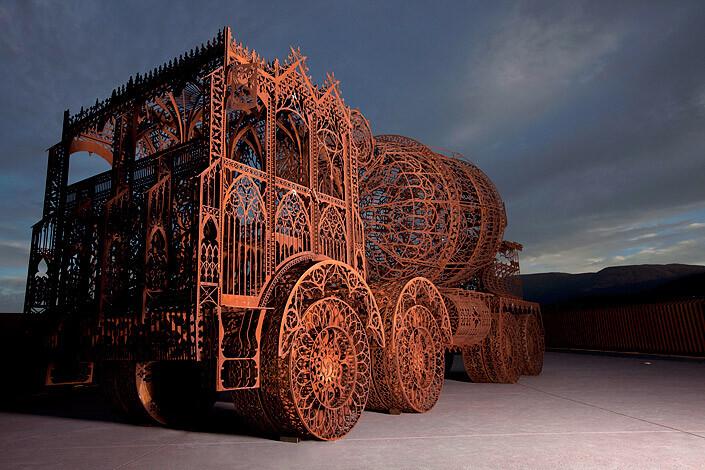 Wim Delvoye Cement Truck, 2007; lasercut corten steel; 225 x 802 x 352 cm; enquire