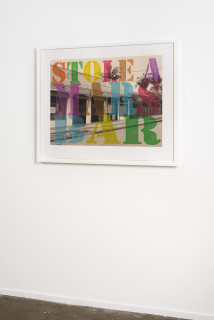 installation view; Tracey Moffatt Suburban No. 5. 'Stole a Mars Bar', 2013; from the series Suburban Landscapes; digital print hand coloured in water crayon; 81 x 99 cm; Edition of 8; enquire