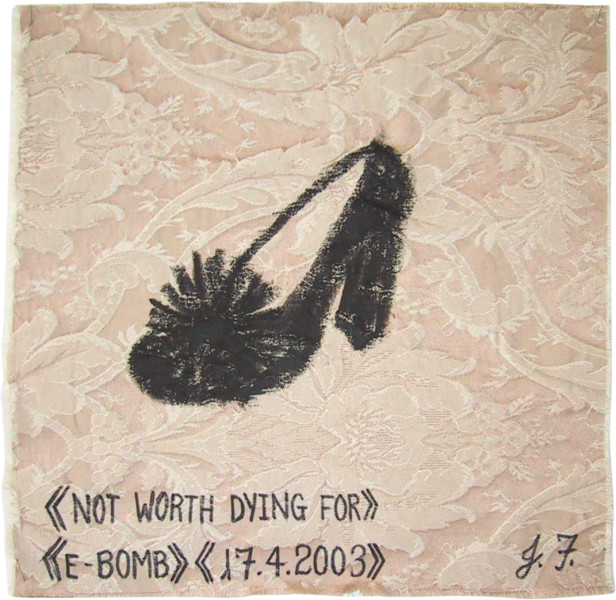 Jacqueline Fraser Not worth dying for > >, 2003; from the series AN ELEGANT PORTRAIT REFINED IN ELEVEN STUDIOUS PARTS >; oil stick on fabric (framed); 32 x 32 cm; enquire