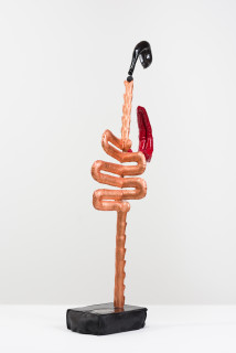 Caroline Rothwell Biomorph (Pipes), 2018; copper, Hydrostone, canvas, epoxyglass, vinyl paint, stainless steel, wood; 108 x 40 x 20 cm; Enquire