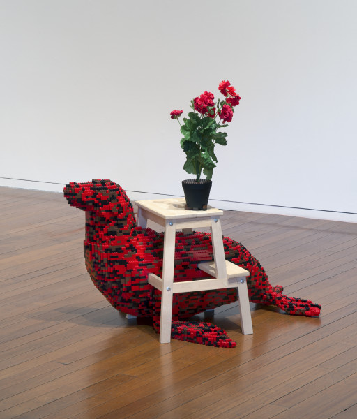 Claire Healy and Sean Cordeiro Kitchen / Pantry – Seal, 2014; Lego, Ikea foot stool and plant; 103 x 110 x 60 cm; enquire