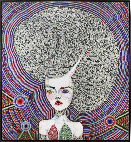 Del Kathryn Barton the human dress, 2013; synthetic polymer paint and gouache on polyester canvas; 203 x 183 cm; enquire
