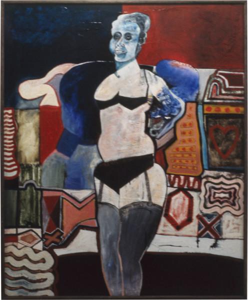 Gareth Sansom The blue masked transvestite, 1965; mixed media on hardboard; 175 x 137 cm; enquire