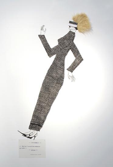 Jacqueline Fraser      , 2003; Italian wool suiting, faux fur, Swiss taffeta ribbon; 150 x 100 x 15 cm; enquire