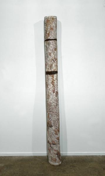 Nyapanyapa Yunupingu Garata, 2011; 4105Y; natural earth pigments on hollow log; 198 x 18 x 18 cm; enquire