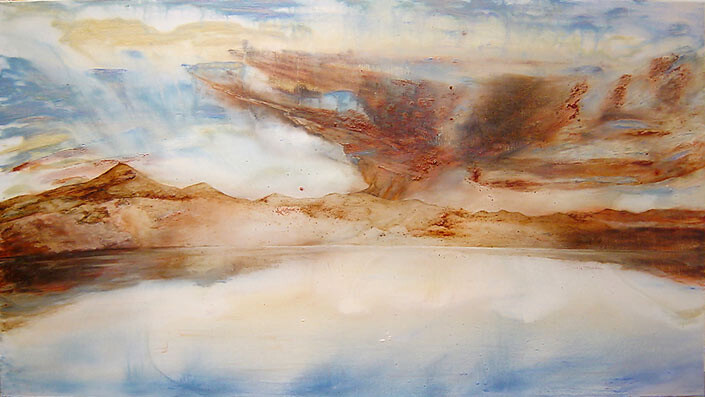 Mandy Martin Sea Sky, 2003; oil, ochre and pigment on linen; 125 x 243 cm; enquire